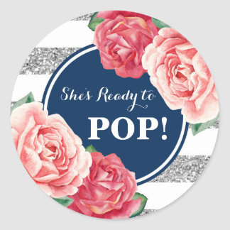 Navy Silver Pink Floral Baby Shower Ready to Pop Classic Round Sticker