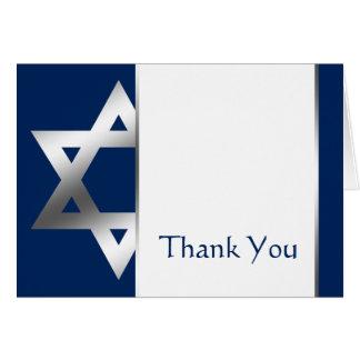 Navy Silver Star of David Bar Mitzvah Thank You Card