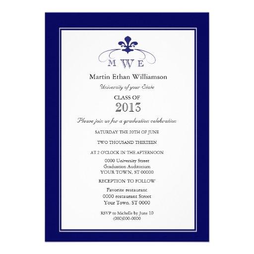Navy Silver & White Fleur de Lis Formal Graduation Cards