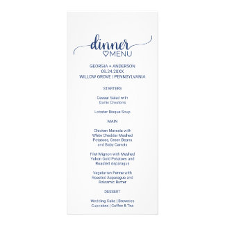 Navy Simple Calligraphy Wedding Dinner Menu Card