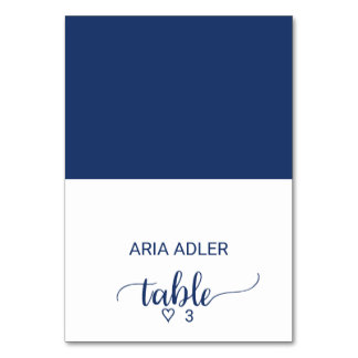 Navy Simple Calligraphy Wedding Escort Place Cards Table Card