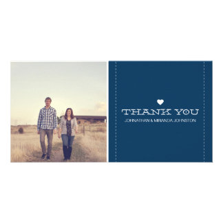 Navy Simply Chic Photo Wedding Thank You Cards Custom Photo Card