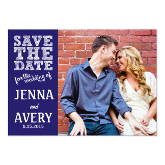 Navy Sketch Save the Date Card