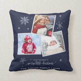 Navy Snowflake | 3 Photo Christmas Cushion