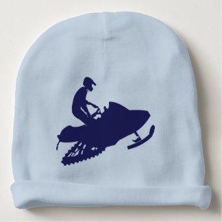 Navy-Snowmobiler Baby Beanie