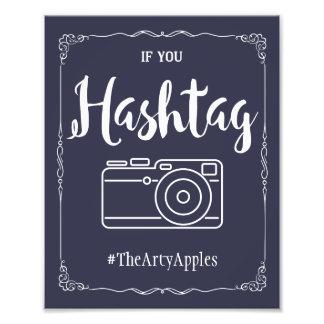 navy social media wedding sign hashtag photo print