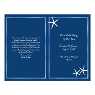 Navy Starfish Beach Wedding Program 21.5 Cm X 28 Cm Flyer