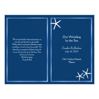 Navy Starfish Beach Wedding Program Flyer