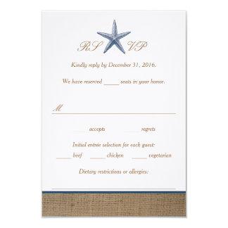 Navy Starfish Burlap Beach Wedding RSVP Cards 9 Cm X 13 Cm Invitation Card