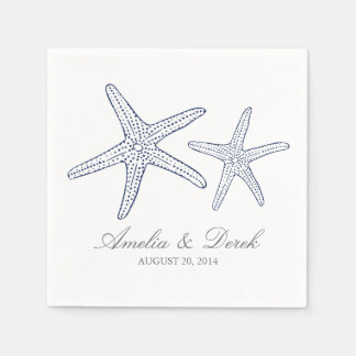 Navy Starfish Cocktail Napkins Disposable Serviette