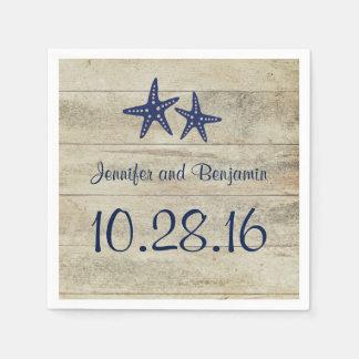 Navy Starfish Rustic Driftwood Beach Wedding Paper Napkin