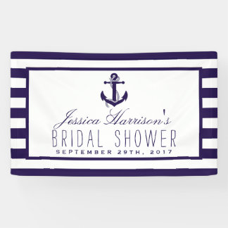 Navy Stripe Nautical Anchor Bridal Shower Banner