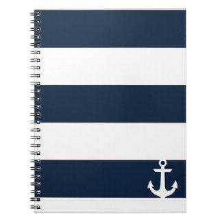 Navy Stripe Notebook - Anchor - White