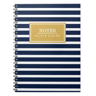 Navy Stripe Pattern Gold Name Template Notebooks