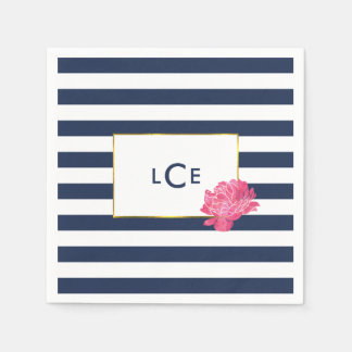 Navy Stripe & Pink Peony Monogram Cocktail Napkins Paper Serviettes