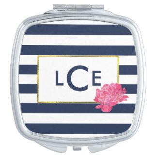 Navy Stripe & Pink Peony Monogram Compact Mirror