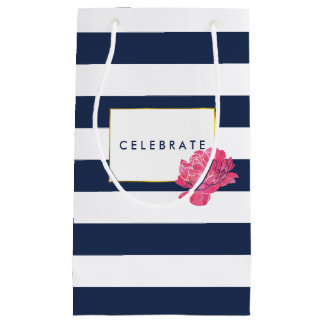 Navy Stripe & Pink Peony Personalized Gift Bags