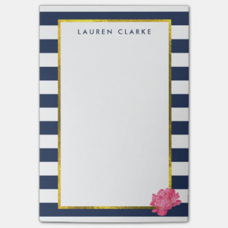 Navy Stripe & Pink Peony Personalized Post-it Notes