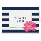 Navy Stripe & Pink Peony Thank You Cards