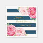 Navy Stripe Pink Watercolor Bridal Shower Napkins Disposable Napkin