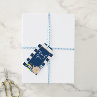Navy Striped Floral Favor Tags
