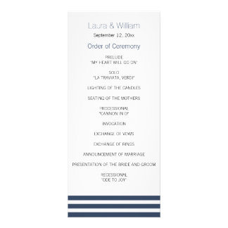 Navy Striped Wedding Program Rack Card