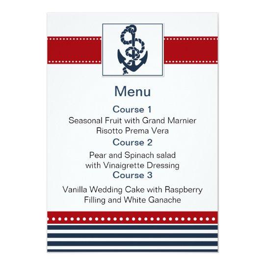navy stripes, anchor, nautical menu cards