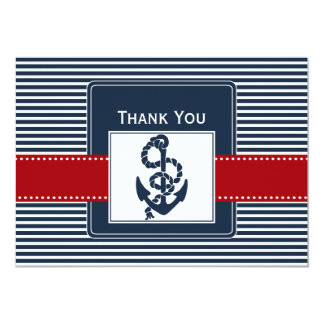 navy stripes, anchor, nautical wedding Thank you 5x7 Paper Invitation Card