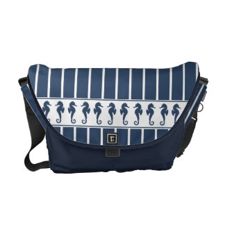 Navy Stripes and Sea Horses Courier Bag
