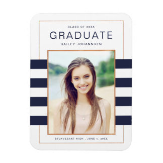 Navy Stripes Graduation Photo Magnet