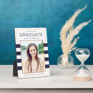 Navy Stripes Graduation Photo Plaque