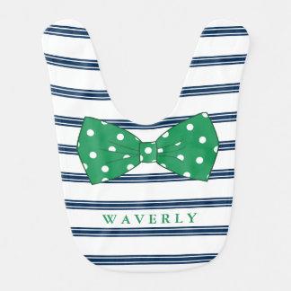 Navy Stripes & Green Bow-Tie   Custom Name Bib