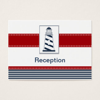 navy stripes, lighthouse, nautical Reception cards