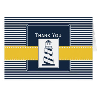 navy stripes,lighthouse, nautical  Thank you Greeting Card