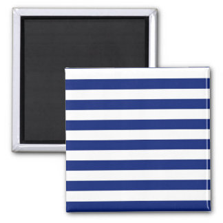 Navy Stripes Nautical Decor Square Magnet