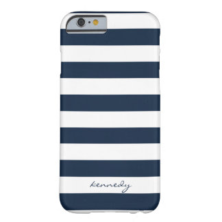 Navy Stripes Pattern Personalised iPhone 6 case Barely There iPhone 6 Case