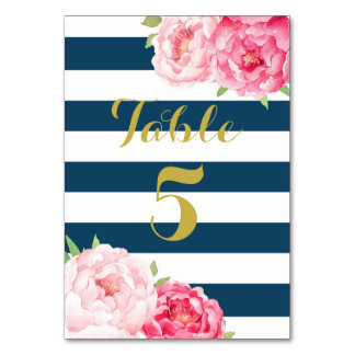 Navy Stripes Pink Floral Wedding Table Number Card