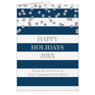 Navy Stripes Silver Confetti Corporate Christmas Card