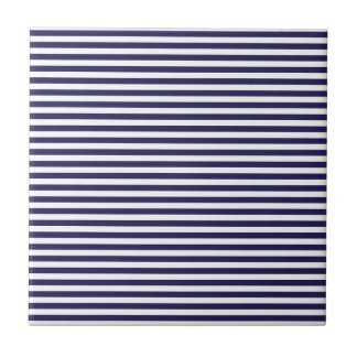 Navy Stripes Small Square Tile