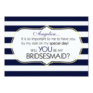 Navy Stripes Will You Be My Bridesmaid Invitation