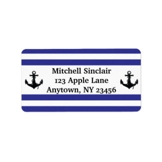 Navy Stripes with Anchors Address Label