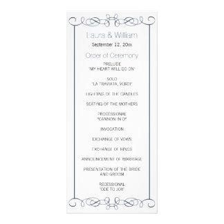 Navy Swirls Wedding Program Rack Cards