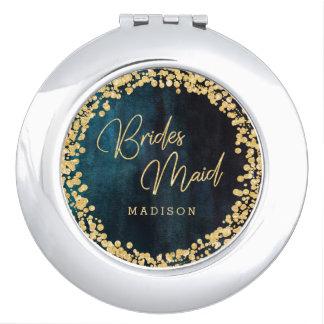 Navy Teal Blue Watercolor Gold Wedding Bridesmaid Compact Mirror