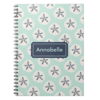 Navy & Teal Summer Sand Dollar Spiral Notebooks
