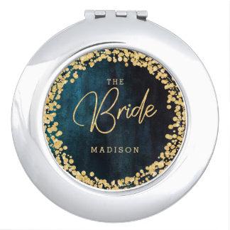Navy Teal Watercolor & Gold Confetti Wedding Bride Vanity Mirror
