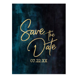 Navy Teal Watercolor & Gold Wedding Save the Date Postcard