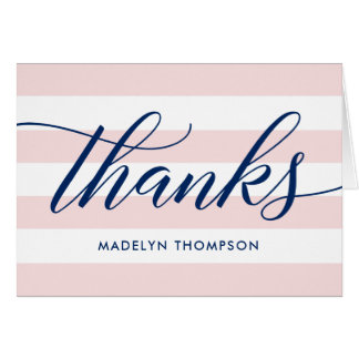 Navy Thank You Notes | Pale Pink Stripes