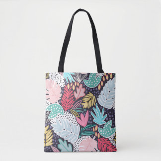 Navy Tropical Collage Patterned Tote Bag