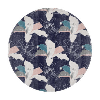 Navy Tropical Floral Chopping Board
