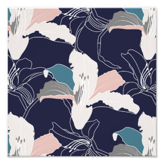 Navy Tropical Floral Photo Print